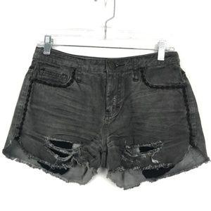 Free People Eyelet Lace Distressed Denim Shorts 26